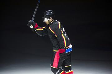 Ice hockey player celebrating