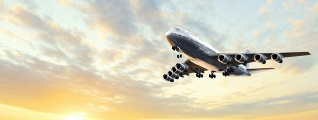 Modern Passenger airplane flight in sunset