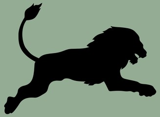 jump lion silhouette vector illustration