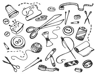 Doodle vector set of tailor business