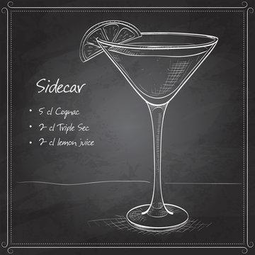 Sidecar cocktail on black board