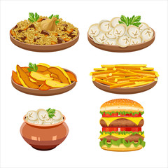 Set of vector isolated illustration, food. Rice, dumplings, Fren