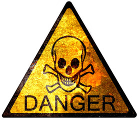 old yellow danger sign - skull