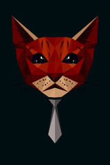 Vector low poly cat