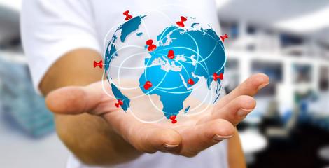 Foto op Plexiglas Wereldkaart Businessman holding digital world map in his hands