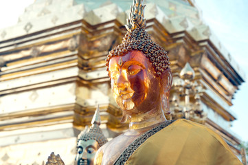 Face of outdoor Buddha statue of Wat Phra That Doi Suthep in Chaingmai,Thailand