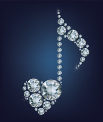 Shiny bright Diamond Music Note symbol with heart made a lot of diamonds