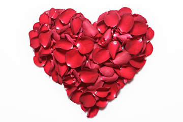 Heart of red rose petals on white background. Valentine's Day, anniversary etc background.
