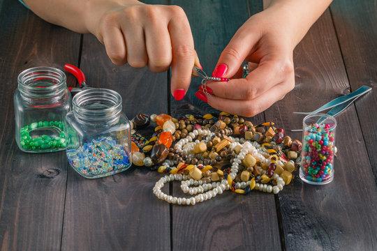Free time evening making beads