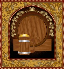 frame from pattern with wintage wood barrel and mug