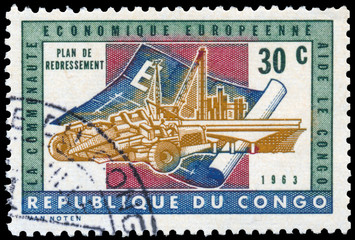 Stamp printed in Congo shows recovery plan