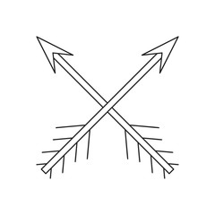 Cross arrows thin line icon