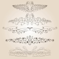 set of birds from calligraphic elements