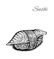 Black and white vector illustration of sushi.