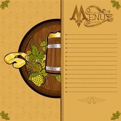 beer menu background with barrel hop and mug