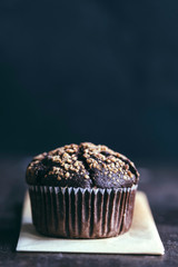 Chocolate muffin with caramel