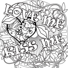 Coloring page book with decorative ornamental elements illustrat