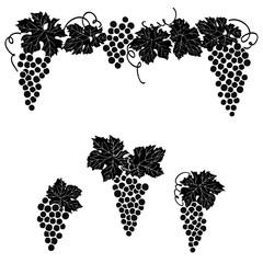 Grapes engraved design set Vine grape ornament element decor set.