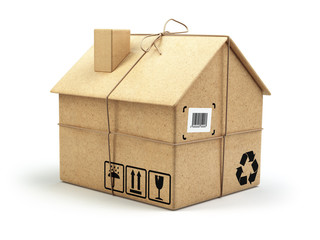 Moving house. Real estate market. Delivery concept. Cardboard bo