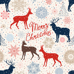 Christmas pattern with snow and deer. Retro Merry Christmas tiled background.