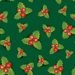 Christmas pattern, hellebore flowers, poinsettia, red berries background