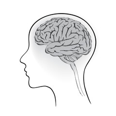 Female brain. Think icon concept. Vector sketch illustration.