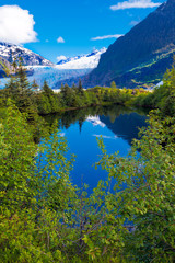 Alaska blue lake with reflections and trees. Location: Mendenhall Glacier at Juneau