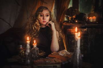 Mistery woman with candles