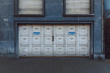 Garage door in the building
