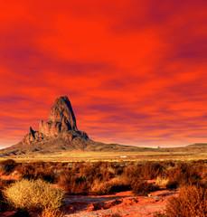 Photo sur Plexiglas Rouge Sunset Skies Monument Valley