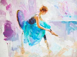 oil painting, girl ballerina. drawn cute ballerina