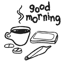doodle good morning, coffee, tablet, mobile phone and marijuana joint,  illustration icon addiction