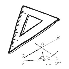 doodle plastic ruler, illustration icon