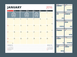 Calendar Planner Template for 2016 Year. Vector Design Print Template. Week Starts Sunday. Calendar Grid with Moon Phases and Place for Photos and Notes. Set of 12 Months