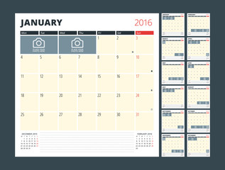 Calendar Planner Template for 2016 Year. Vector Design Print Template. Week Starts Monday. Calendar Grid with Moon Phases and Place for Photos and Notes. Set of 12 Months