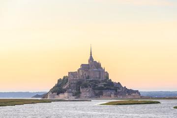 Mont Saint Michele at dusk France