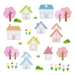 春の家 素材セット / vector eps10