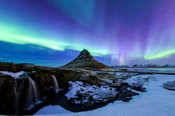 Kirkjufell and Aurora in Iceland.