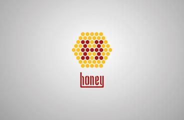 honeycomb logo with honey drop. vector illustration eps 10