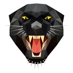 Vector low poly angry panther