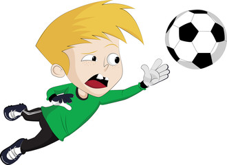 Goalkeeper jump to catch a Ball.Vector clip art illustration
