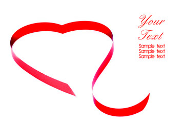 Ribbons shaped as hearts on white, valentines background.