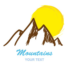 Abstract mountains logo isolated on white background, vector