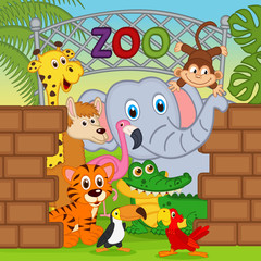animals at the zoo - vector illustration, eps
