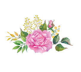 Country bouquet of pink rose on the white background. Watercolor with summer garden flowers.