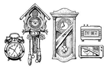 Wall Mural - Illustration of old clocks