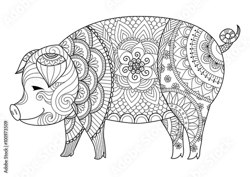 u0026quot drawing zentangle pig for coloring book for adult or