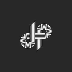 Logo DP letter monogram, offset thin line style, overlapping design element, D and P pair symbol, linear emblem template
