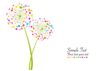 Colorful abstract heart dandelion vector background