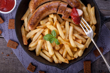 french fries and homemade sausage